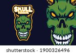 angry green skull head sports... | Shutterstock .eps vector #1900326496