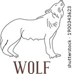 line art flat vector of wolf... | Shutterstock .eps vector #1900343623