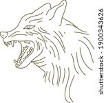 line art flat vector of wolf... | Shutterstock .eps vector #1900343626