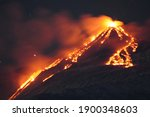 Volcano Etna Erupting At Night. ...