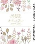 cute floral watercolor wedding... | Shutterstock . vector #1900394656