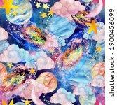 watercolor galaxy  moon ... | Shutterstock . vector #1900456099