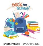 set of school supplies... | Shutterstock .eps vector #1900493533