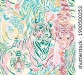 animal tigers art pastel color... | Shutterstock .eps vector #1900500253