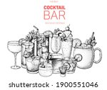 alcoholic cocktails hand drawn... | Shutterstock .eps vector #1900551046