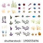 sea set from starfishes and... | Shutterstock .eps vector #190055696