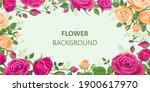 floral background. roses  buds... | Shutterstock .eps vector #1900617970
