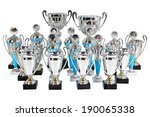 suite award silver cups on marble base, Silver Cup Trophies, many sports awards cups, isolated object on white background,  - stock photo
