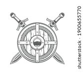 round viking shield with celtic ... | Shutterstock .eps vector #1900655770