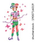 Watercolor Character Jester ...