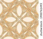 Seamless pattern, background. Colored vector illustration in art nouveau style, vintage, old, retro style. In soft green and beige colors..