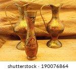Oriental Vases On Wooden Board