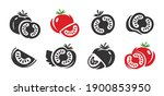 tomato icons set. fresh... | Shutterstock .eps vector #1900853950