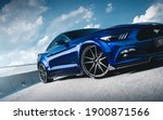 Small photo of Kharkiv, Ukraine - July 2020: Ford Mustang tuned by famous ukrainian company SS-Tuning