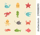 cute simple sea creatures | Shutterstock .eps vector #190088090