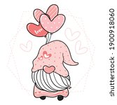cute pink gnome holding heart...   Shutterstock .eps vector #1900918060