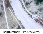Aerial View Of Frozen River In...