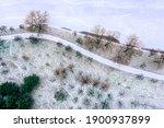 Snowy Winter Park Landscape...