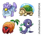 collection of cute cartoon... | Shutterstock .eps vector #1900968436