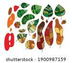 hand drawn vector autumn leaves ...   Shutterstock .eps vector #1900987159