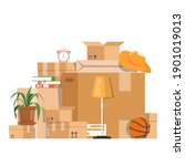 pile of the boxes with... | Shutterstock .eps vector #1901019013