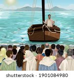 jesus teaches from boat on the...   Shutterstock .eps vector #1901084980