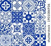 set of 16 tiles azulejos in... | Shutterstock .eps vector #1901086936