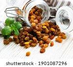 Yellow Golden Raisins On A...