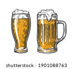 beer in glass mug with foam.... | Shutterstock .eps vector #1901088763