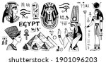 egypt doodle icon set. egyptian ...   Shutterstock .eps vector #1901096203
