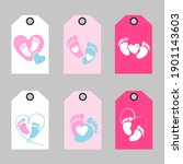 Set Of Baby Footprint Tag....