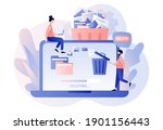delete concept. tiny people... | Shutterstock .eps vector #1901156443