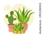 cute houseplant composition... | Shutterstock .eps vector #1901200543