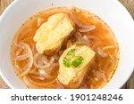 closeup of a french onion soup
