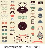 hipster colorful retro vintage... | Shutterstock . vector #190127048