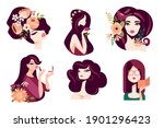 set of woman illustration... | Shutterstock .eps vector #1901296423