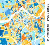 Color art map of  Lowell, Massachusetts, UnitedStates in blues and oranges. The color gradations in Lowell   map follow a random pattern.