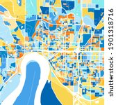 Color art map of  Evansville, Indiana, UnitedStates in blues and oranges. The color gradations in Evansville   map follow a random pattern.