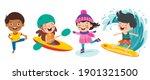 happy kids making various sports | Shutterstock .eps vector #1901321500