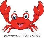 cute happy crab cartoon... | Shutterstock .eps vector #1901358739