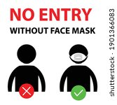 no entry without face mask or...   Shutterstock .eps vector #1901366083