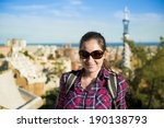 pretty young female tourist... | Shutterstock . vector #190138793