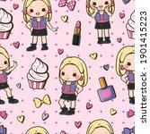 seamless pattern kawaii girl... | Shutterstock .eps vector #1901415223