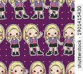 seamless pattern kawaii girl... | Shutterstock .eps vector #1901415430