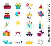 happy birthday icons set. icons ...   Shutterstock .eps vector #1901418430