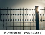 Barbed Wires And Sun Rays In...