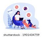 loving dog owner buying toys...   Shutterstock .eps vector #1901434759