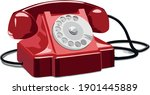 Rotary Old Red Telephone Vector