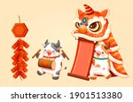 cny lion dance performance... | Shutterstock .eps vector #1901513380