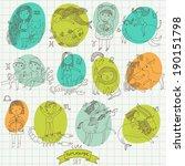cute cartoon zodiac set in... | Shutterstock .eps vector #190151798